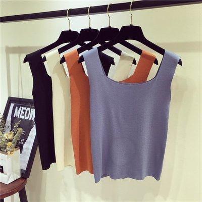 秋季女裝新款韓版內搭純色無袖背心針織衫修身短版外穿方領背心