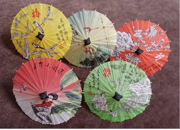 扇面圖案隨機出貨/佳樺5把1組中國風超迷你紙傘(小號)迷你雨傘擺飾外國人最愛台灣紀念品/台灣特色小物批發