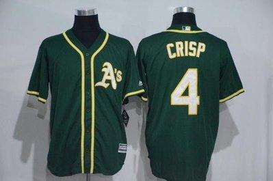 漫無止境wkky Athletics球衣MLB運動家隊棒球服4號CRISP黃綠色短袖刺繡開衫比賽