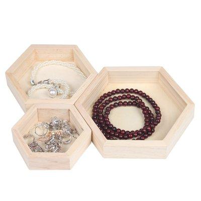 hello小店-原木六角首飾盤創意實木項鏈手鏈飾品收納盒手串展示道具#飾品架#展示道具#