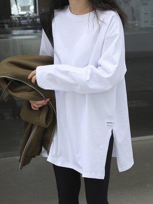 白色打底衫女秋冬洋氣春季新款純棉t恤長袖疊穿搭配衛衣內搭神器