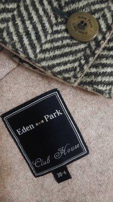 Eden Park 經典黑白魚骨紋羊毛西裝外套 附備釦