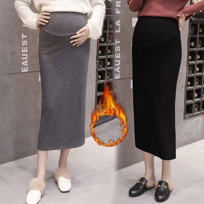 花兒 加絨 托腹裙 【S7002】 加厚 保暖 修身 半身裙  高腰 托腹 長裙