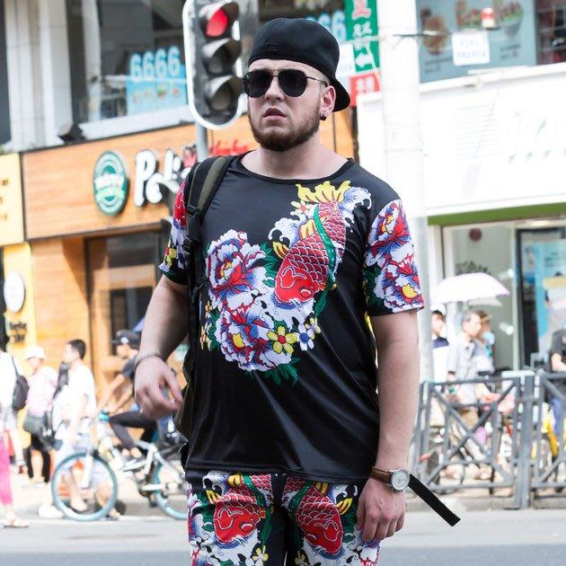 FINDSENSE品牌監製 大尺碼男裝 3D印花男士加肥加大碼短袖T恤薄款個性短袖夏季男大尺碼寬鬆透氣T恤速乾排汗T