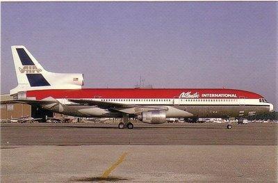 航空紀念品-早期Atlantic International Airline Lockheed L-1011 Tristar明信片