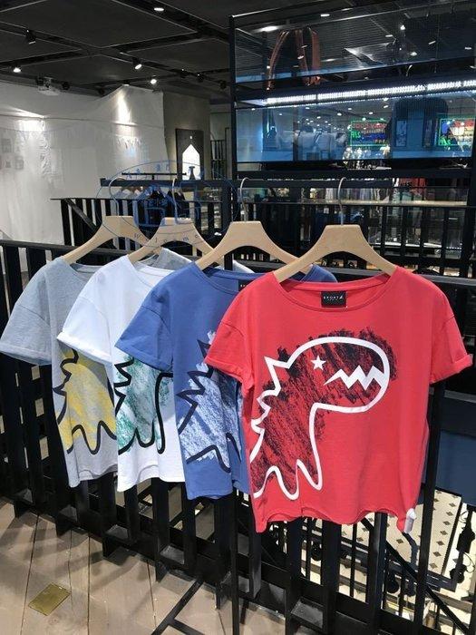 法國品牌 agnes b.新款香港正品SPORT大恐龍涂鴉撞色纯棉女装短袖T恤