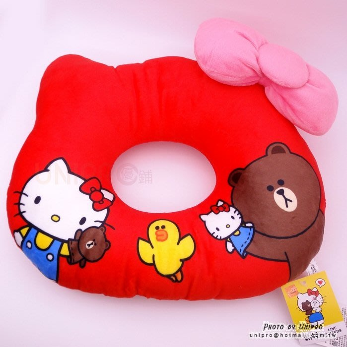 【UNIPRO】Hello Kity x LINE FRIENDS KT 頭型坐墊 靠枕 熊大 莎莉 正版授權