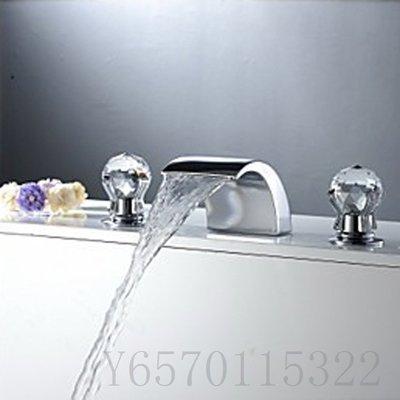 全銅三件套瀑面出水浴缸龍頭3件套分離式面盆龍頭 H1108