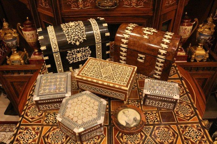 【家與收藏】特價極品珍藏歐洲古董維多利亞手工精緻母貝獸骨烏木Inlay鑲嵌木盒/珠寶盒 2