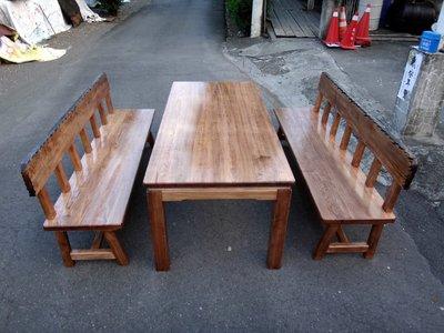 A056 {崙頂傳統原木家具行}~杉木實木泡茶桌固定桌配2張杉木長靠背椅跟2張實木椅 接受訂作 訂色 多款選擇