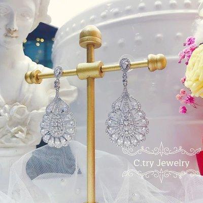 💎1249、法式工藝絕美奢華細膩蕾絲徽章耳環-銀💎正韓飾品 耳環 珠寶 925純銀針 EE066