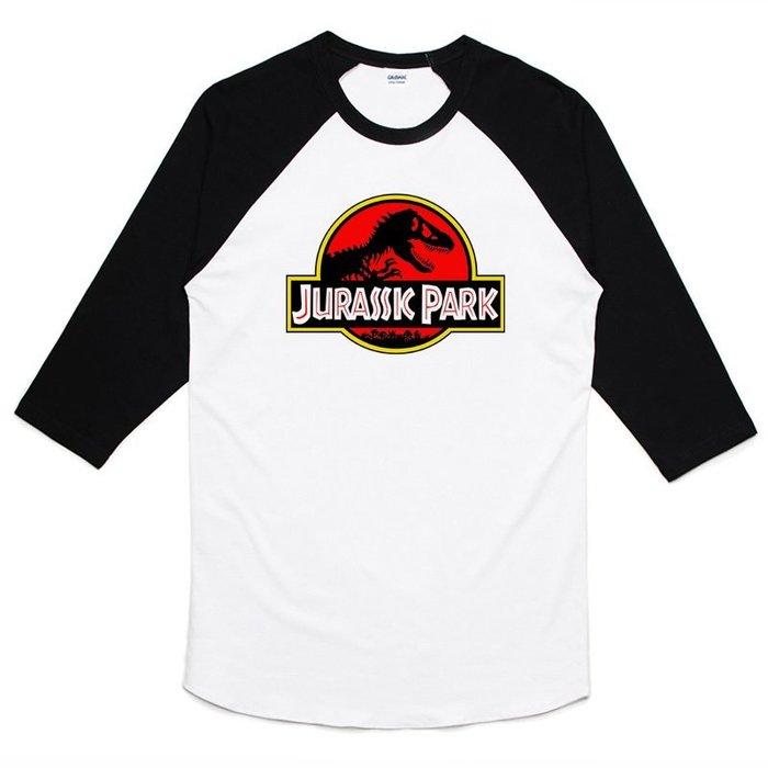 Jurassic Park 七分袖T恤 白黑色 侏儸紀公園 電影 恐龍 變種 暴龍 侏儸紀世界