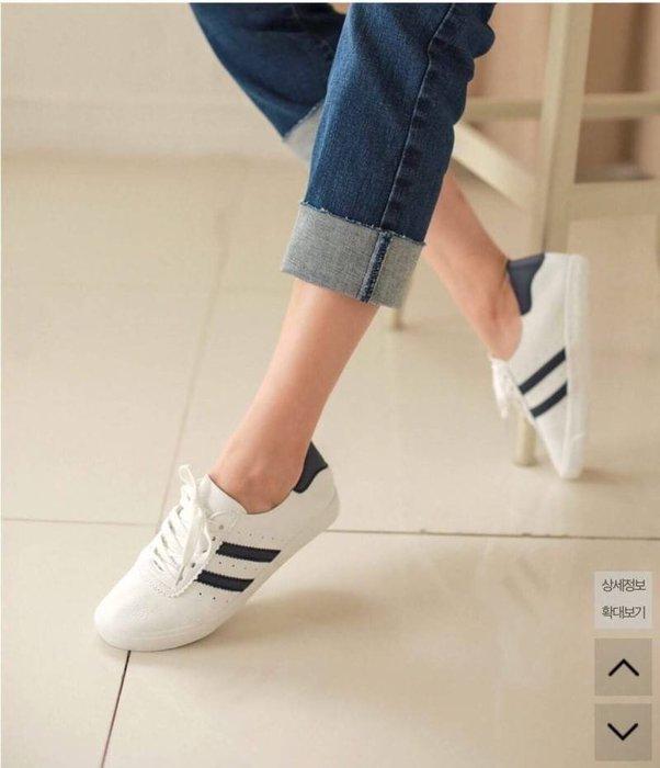 正韓連線 不帶後悔~軟底好走小白鞋休閒鞋帆布鞋 22.5-25 版正常【Ann niu韓國代購】E225