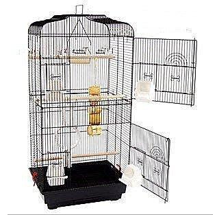 【易發生活館】黑色平頂大鸚鵡籠 鳥籠 玄鳳籠 群鳥籠鳥窩鳥屋鳥房子鸚鵡鳥籠適合各類鳥