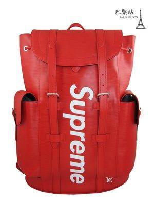 【巴黎站二手名牌專賣店】*現貨*Louis Vuitton x Supreme 真品*紅色Christopher 雙肩包
