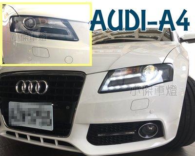 小傑車燈精品--全新實車 AUDI 奧迪 A4 08 09 10 11年 B8類B8.5代光條R8燈眉魚眼 大燈