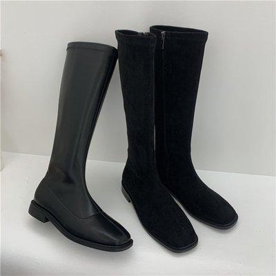 Venaessa韓國現貨女鞋黑天鵝系列!秋冬新品韓國方頭不過膝彈力個性絨面簡約粗跟瘦瘦靴