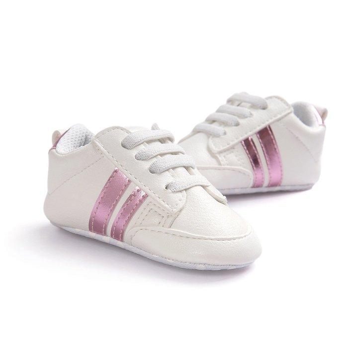 森林寶貝屋~特價~時尚白粉休閒球鞋~學步鞋~幼兒鞋~寶寶鞋~嬰兒鞋~學走鞋~童鞋~鬆緊帶設計~坐學步車穿~彌月贈禮