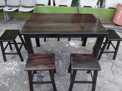 A050 {崙頂傳統原木家具行}~杉木實木固定桌配柳安木四腳椅整組 接受訂做.訂色 多張多組可議