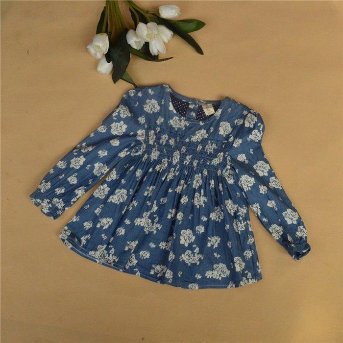 ☆草莓花園☆CC02 日單女童村衣 兒童印花村衫 純棉裙衫