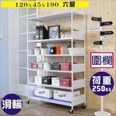 書房/客廳【澄境】 洞洞板120x45x190耐重六層附輪置物架+5組圍欄R-DA-SH112WH-PU