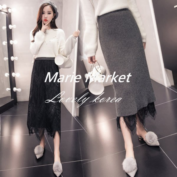 ☆ Marie Market ☆ 韓國訂單 性感開岔針織半身裙 兩穿式蕾長裙 A字裙 短裙