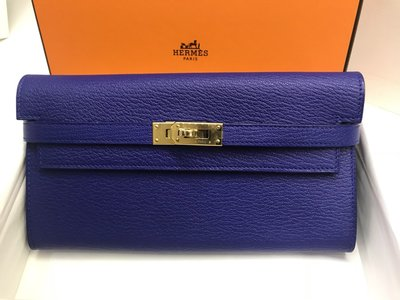 【Hermes】全新限量正品 kelly wallet 凱莉長夾 7T 閃電藍+金釦+山羊皮 = 超級美!