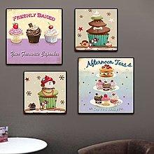 蛋糕面包店裝飾畫西式甜品無框畫冷飲店牆畫奶茶店掛畫糕點房壁畫(5款可選)