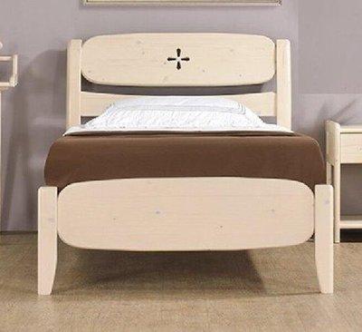 【風禾家具】FNC-22-2@洗白色單人3.5尺床台【台中6100送到家】兒童床架 單人床 北歐風 松木實木 傢俱
