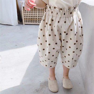 【溜。溜。選物】童裝 春夏 棉麻波點寶寶防蚊長褲 闊腿打底褲