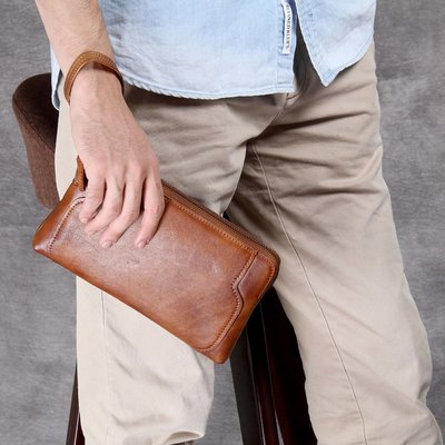 手拿包真皮錢包-手工擦色植鞣牛皮男女包包4款73vp19[獨家進口][米蘭精品]