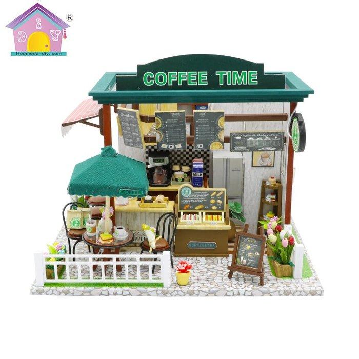 【童妡小屋】時間咖啡屋 COFFEE TIME 手作DIY小屋袖珍屋 創意生日禮物