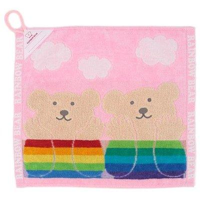 *現貨*日本製 Rainbow Bear 彩虹熊 雲朵 純棉 吊掛式毛巾 小方巾 擦手巾 35×39cm 今治產