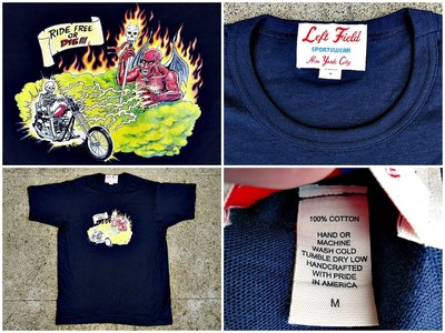 西方不敗美國製手工Left Field Vintage Iron Tube Tee Ride Free or Die M
