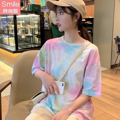 【V3080】SMILE-原宿再現.漸變色圓領寬鬆短袖上衣