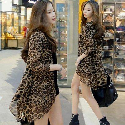 防曬衣 中長款不規則外搭女開衫夏大碼網紗披肩空調衫薄款豹紋外套   全館免運