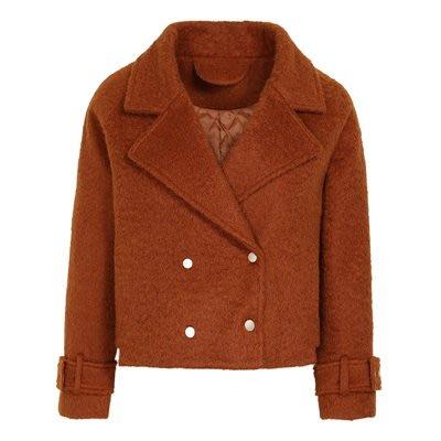 毛呢 外套 短版大衣-翻領純色雙排扣冬季女外套73ui17[獨家進口][米蘭精品]