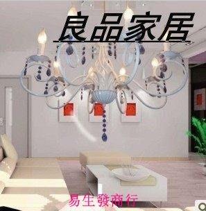 【易生發商行】歐式吊燈客廳燈鐵藝燈蠟燭吊燈田園燈飾歐式燈具臥室燈水晶燈F6394