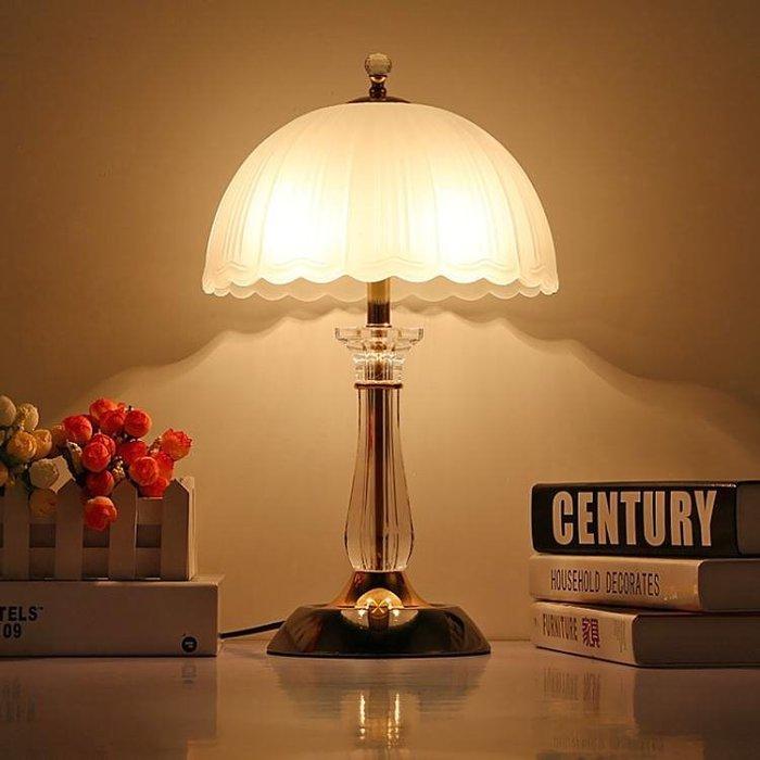 現代簡約歐式餵奶可調光檯燈床頭燈臥室檯燈水晶玻璃檯燈結婚創意 好康免運