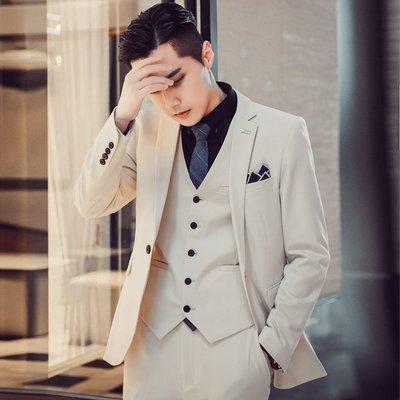 【時尚先生男裝】西服套裝男士三件套韓版修身英倫風帥氣小西裝正裝新郎伴郎服西服韓版西裝 修身西裝 整套西裝 西裝褲 西裝外套正式西裝A0023
