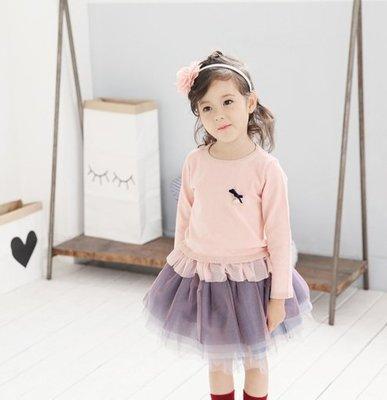 【Mr. Soar】F216 秋季新款 韓國style童裝女童粉色花邊網紗薄款針織長袖上衣 現貨