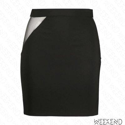 【WEEKEND】 LOULOU 腰側挖空 薄紗 透視 合身 短裙 黑色