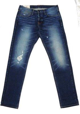 HOLLISTER SUPPER SKINNY 古著破壞加工石洗合身窄管丹寧褲32吋