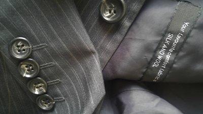 Strellson 深鐵灰細條紋絲羊毛單排兩釦西裝上衣