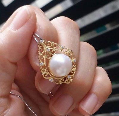 嗨,寶貝銀飾珠寶* 珍珠飾品☆925純銀鍍黃k金飾品 保A貨 色澤油亮 氣質 優雅 古典圖騰 天然海水珍珠 鋯石純銀墜子