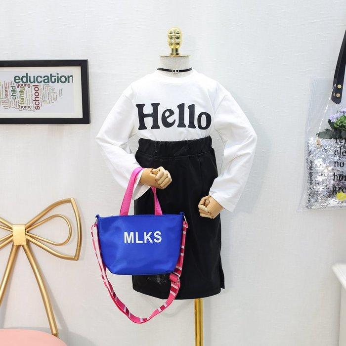 B 韓版童裝女童2018秋裝新款衛衣百搭字母長袖T恤打底衫