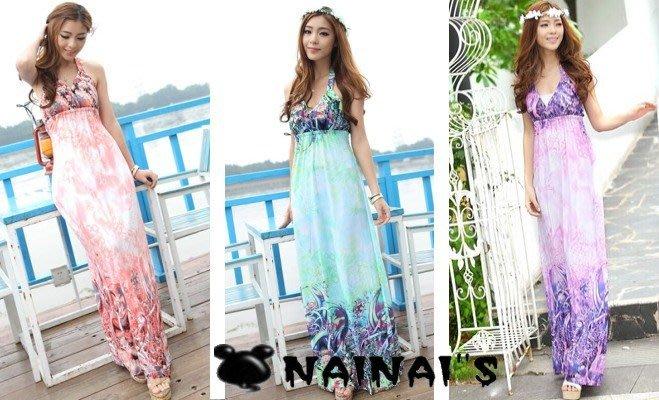 【NAINAIS】Bali‧FF 5559 韓版 波西米亞海洋度假 鮮豔印花圖騰掛脖長版洋裝海灘裙 森林漸層款 3色預