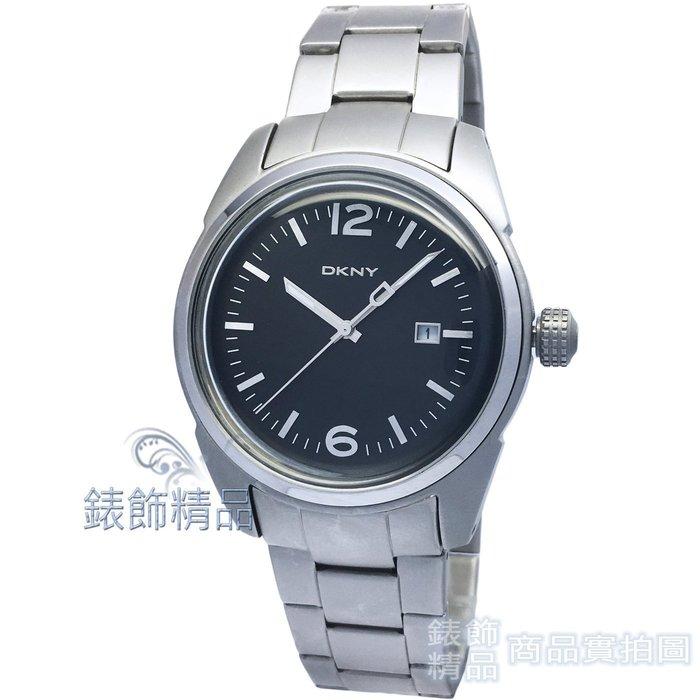 【錶飾精品】DKNY手錶 NY1393 雅爵 霧殼黑面日期鋼帶男表 全新原廠正品