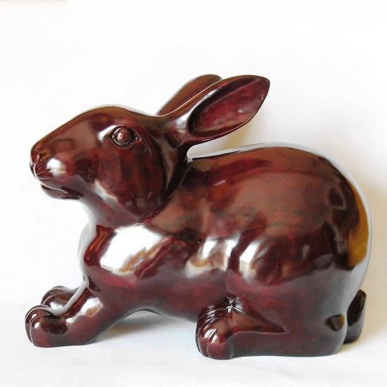T紅木工藝品木雕家居風水擺件 超大號生肖招財納福兔子 木雕兔