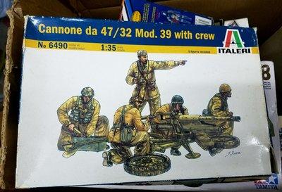 Italeri-6490-1/35-Cannone da 47/32 Mod. 39-w/crew-1/35-加費3元-M-300